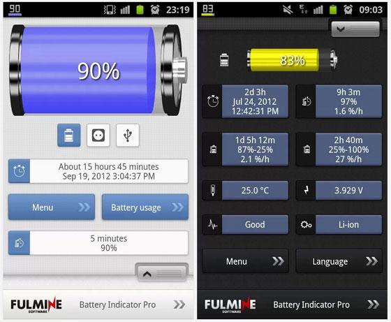 Индикатор заряда батареи в процентах для Android